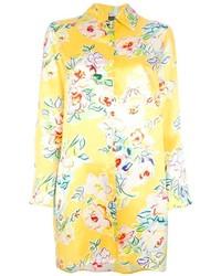 Robe chemise à fleurs jaune Kenzo