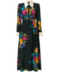 Robe chemise à fleurs noire Gucci