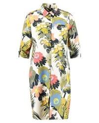 Robe chemise à fleurs olive Expresso