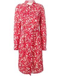 Robe chemise à fleurs rouge Tory Burch