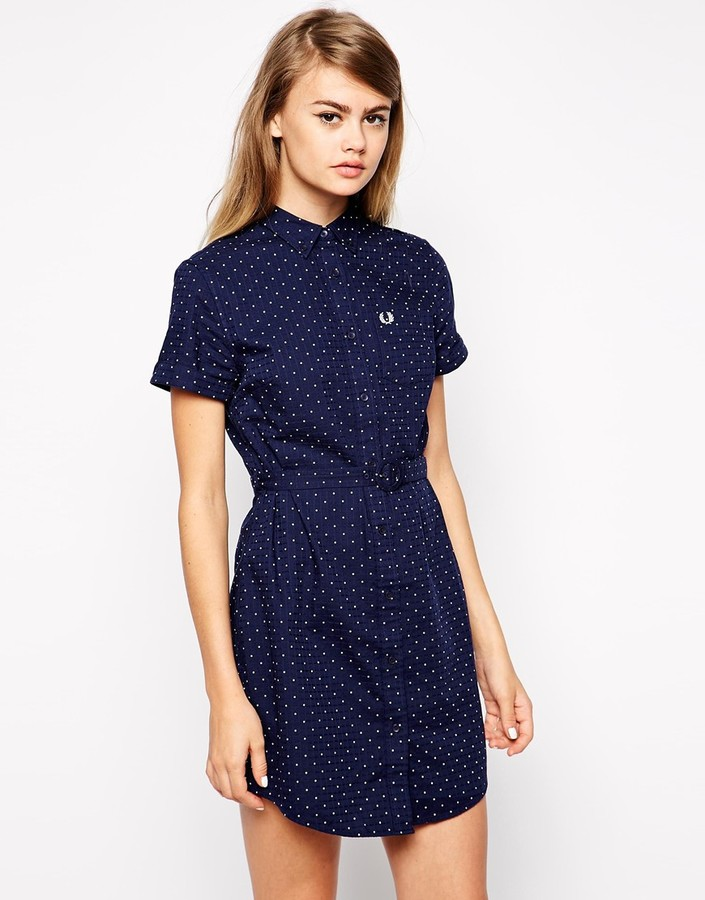 Robe Chemise A Pois Bleu Marine Fred Perry 123 Asos Lookastic France