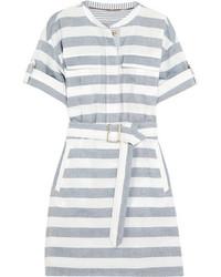 Robe chemise à rayures horizontales bleue Burberry