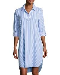 Robe chemise à rayures verticales blanc et bleu