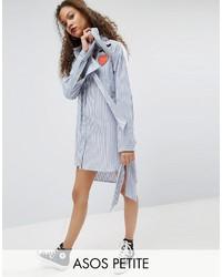 Robe chemise à rayures verticales blanc et bleu Asos