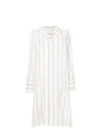 Robe chemise à rayures verticales blanche Marni