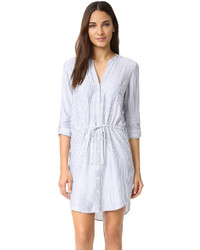 Robe chemise à rayures verticales bleu clair