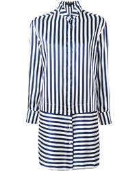 Robe chemise à rayures verticales bleu marine Burberry