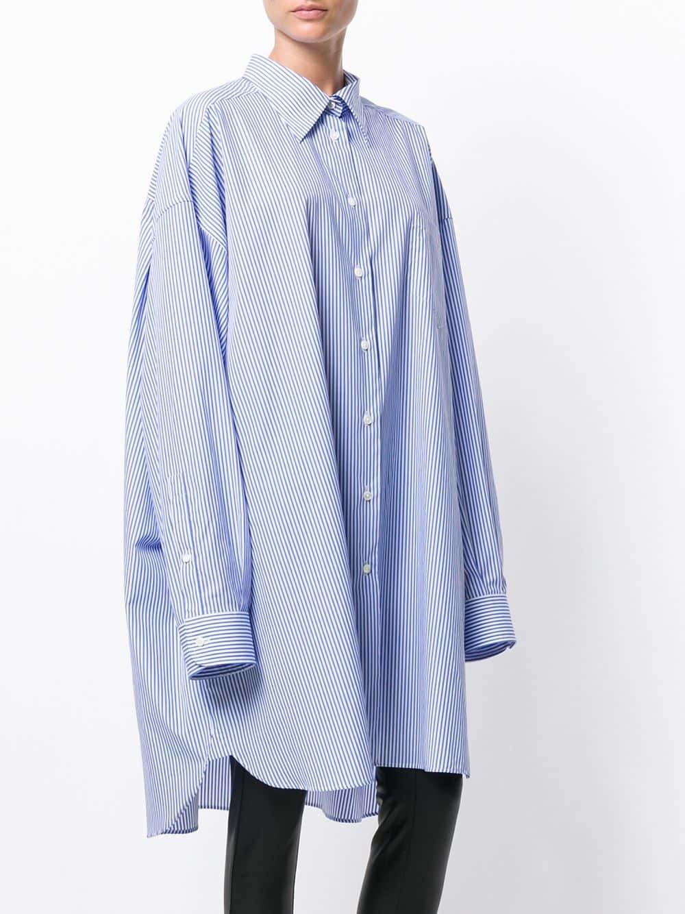 Robe chemise à rayures verticales bleue Maison Margiela