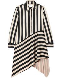 Robe chemise à rayures verticales noire MARQUES ALMEIDA
