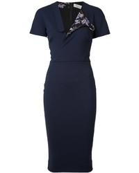 Robe chemise bleu marine Victoria Beckham