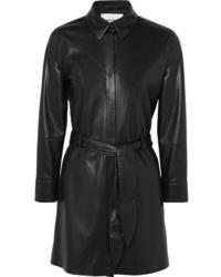 Robe chemise en cuir noire