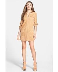 Robe chemise en daim marron clair