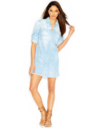 Robe chemise en denim bleu clair