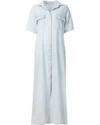 Robe chemise en denim bleu clair Frame Denim