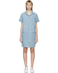 Robe chemise en denim bleu clair Kenzo