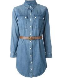 Robe chemise en denim bleu clair Michael Kors