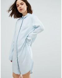 Robe chemise en denim bleu clair Weekday