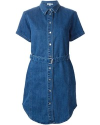 Robe chemise en denim bleue