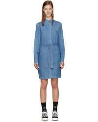 Robe chemise en denim bleue Kenzo