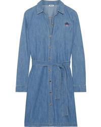 Robe chemise en denim brodée bleue Kenzo
