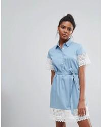 Robe chemise en dentelle bleu clair French Connection