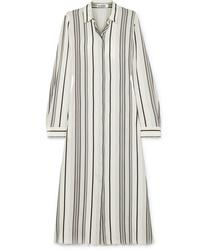 Robe chemise en soie à rayures verticales blanche Jil Sander