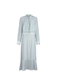 Robe chemise en soie bleu clair Burberry
