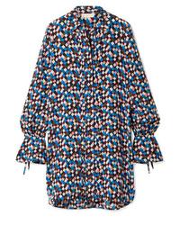 Robe chemise en soie imprimée bleu marine Tory Burch