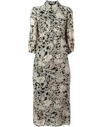 Robe chemise en soie imprimée noire Saint Laurent