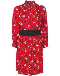 Robe chemise en soie imprimée rouge Marc Jacobs