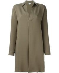 Robe chemise en soie olive Vince