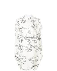 Robe chemise imprimée blanche Marni