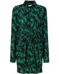 Robe chemise imprimée noire Saint Laurent
