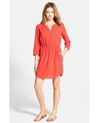 Robe chemise imprimée rouge
