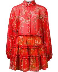 Robe chemise imprimée rouge Alexis