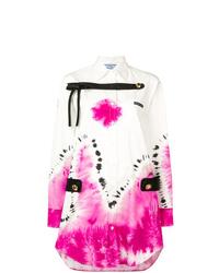 Robe chemise imprimée tie-dye blanche Prada