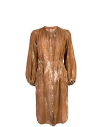 Robe chemise imprimée tie-dye tabac Raquel Allegra