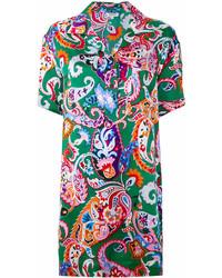 Robe chemise imprimée verte Kenzo