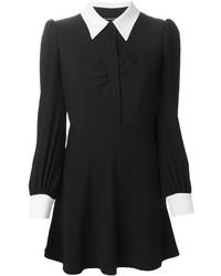 Robe chemise noire et blanche Saint Laurent