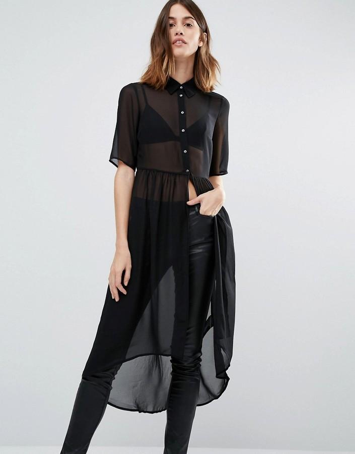 e58d1ae6633 ... Robe chemise noire Vero Moda ...