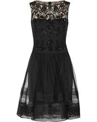 Robe de cocktail de tulle noire Notte by Marchesa