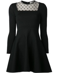 Robe de cocktail en tulle á pois noire Saint Laurent
