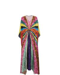 Robe de plage en soie à rayures horizontales multicolore Mary Katrantzou