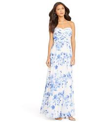 Robe de soirée à fleurs blanc et bleu