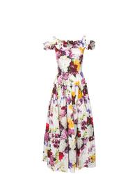 Robe de soirée à fleurs blanche Dolce & Gabbana