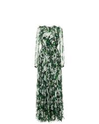 Robe de soirée à fleurs vert foncé Dolce & Gabbana