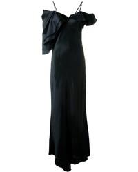 Robe de soirée à volants noire Saint Laurent