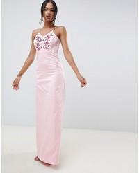 Robe de soirée brodée rose Y.a.s