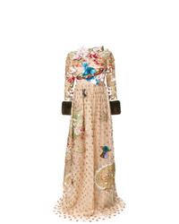 Robe de soirée de tulle à fleurs marron clair Gucci