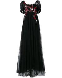 Robe de soirée de tulle brodée noire Gucci